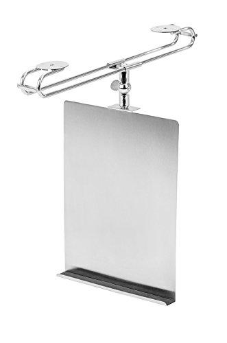 WENKO 53240100 Tablethalter und Kochbuchhalter, Edelstahl rostfrei, 24 x 2 x 18.5 cm, Silber matt