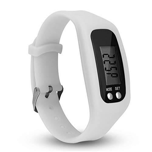 CamKpell Multifunktionale Sportuhr Armband Digital LCD Schrittzähler Run Schritt zu Fuß Entfernung Kalorienzähler Armband - Weiß