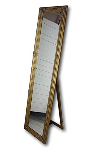 Antik-trödel (180x45x5cm rechteckiger Stand-Spiegel, handgefertigter Vintage-Antik-Rahmen aus Holz, gold, inkl. Klappfuß)
