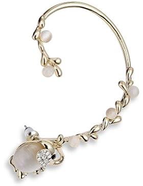 Honeystore Frauen's Elefant Opal Legierung-Ohr-Stulpe-Ohrring Farbe Weiß Golden linken Ohr-1 Stück