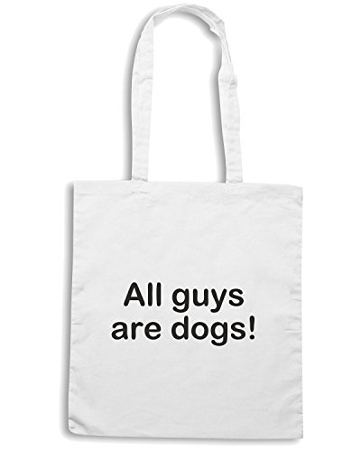 T-Shirtshock - Borsa Shopping TDM00015 all guys are dogs Bianco