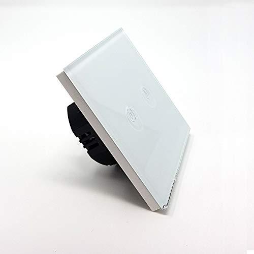 Interrupteur tactile 2 boutons Lumtouch - Design moderne, épuré et élégant - Modèle en verre blanc - Garantie 5 ans