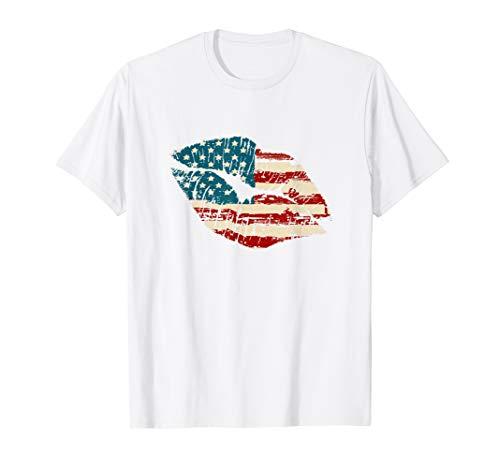 AMERIKA 4. JULI SHIRTS LIPPEN AMERIKANISCHE FLAGGE T-Shirt (Vierter T-shirts Niedlich, Juli)