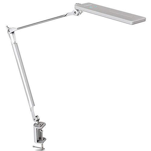 LED-Schreibtischlampe Aus Metall Mit Klemmfuß,Schwenkarm-Arbeitsleuchte / Tageslichtlampe (6 Helligkeitsstufen Und 4 Farbtemperaturen Dimmbar,Touchscreen-Bedienung,Intelligente Speicherfunktion) -