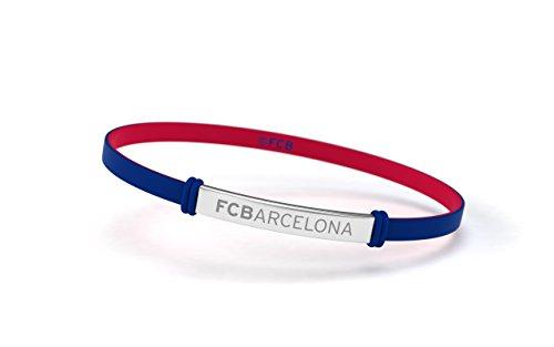 ca7bb5f6c953 FCB Pulsera Fashion Azul Junior, Pulsera de silicona y acero inoxidable  Fútbol Club Barcelona,