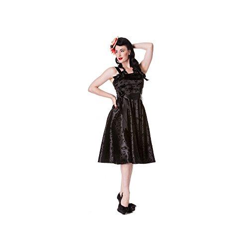 Hell Bunny - Tattoo Flock Dress Rockabilly Kleid Schwalben Schwarz (XS-XL) (M)
