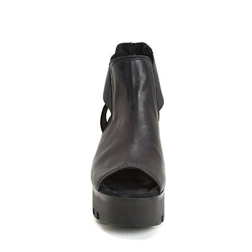 ALESYA by Scarpe&Scarpe - Semelles compensées avec ouvertures latérales, en Cuir Noir