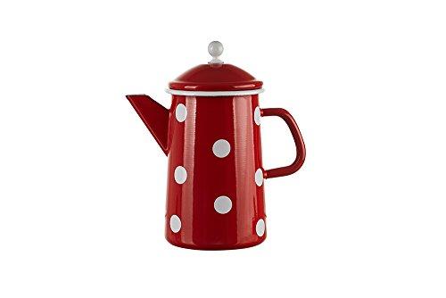 Mündner Emaille - Kaffeekanne, Teekanne - Kanne - Emaile - 1,6 Liter - Farbe: Rot mit weißen Punkten