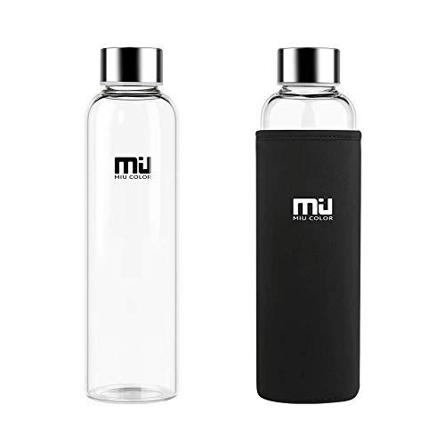 MIU COLOR Stilvolle tragbare 550ml Glasflasche mit Nylon-Tasche Trinkflasche für Auto ohne Teesieb, schwarz