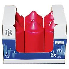 Stumpenkerzen H-Line Farbe: Rot Inhalt: 6 Stück Abmessung: 58mm x 165mm Brenndauer ca. 46 Stunden Kerze Candle Material: Paraffin-Stearingemisch