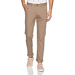 Arrow Sports Men's Relaxed Fit Casual Trousers (ASWTR2448_Brown_32W x 34L)