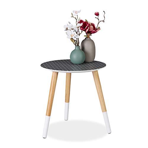 Relaxdays Beistelltisch rund, dekoratives Muster, Holztisch niedrig, Dreibein Tisch, HxD 40,5x40cm, schwarz/weiß/Natur