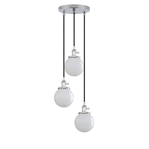 Industrial Modern Vintage 3-Wege-Deckenpendelleuchten Einbau Glaskugel Weiß Lampenschirm Hängende Leuchte Kronleuchter für Küche Insel Esszimmer Wohnzimmer Cafe Bar Restaurant (Light Wire 3-way Switch)