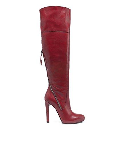 PoiLei Plateau Overknee-Stiefel Damen Vivian Leder-Stiefel Overknees Italienisch rot (Italienische Damen Stiefel)
