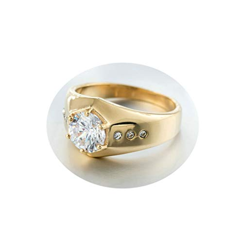 KnBoB Herren Ringe Poliert Solitärring Gold Zirkonia Edelstahl Ringe Gr.65 (20.7)