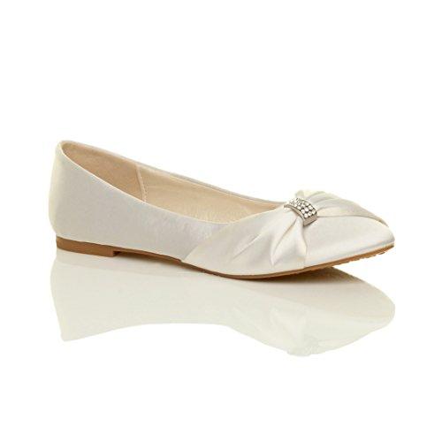 Femmes mariage demoiselle d'honneur bal de promo soir chaussures plats ballerines pointure Blanc