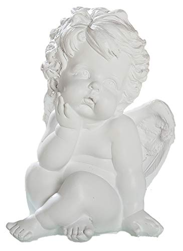 dekojohnson - Schutz-Engel Figur Weiss klein Grabschmuck Grabdeko liebevolle Grab-Engel Skulptur wetterfest - 19cm Gross
