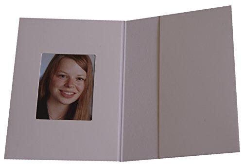 Daiber - Cartelletta di presentazione con spazio per fototessera, 100 pz, colore: bianco opaco