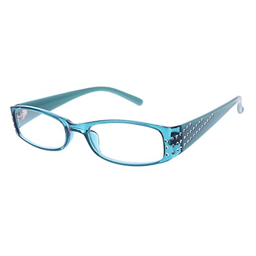 Xurgm Female Simple Fashion Reading Glasses Rectangular Frame Spring Hinges Rhinestone (+2.0, Blau)