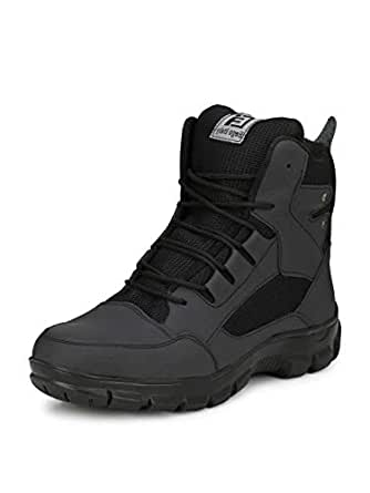 Eego Italy® Genuine Leather Light Weight Men's Steel Toe Safety Boots with Anti Skid Sole Black