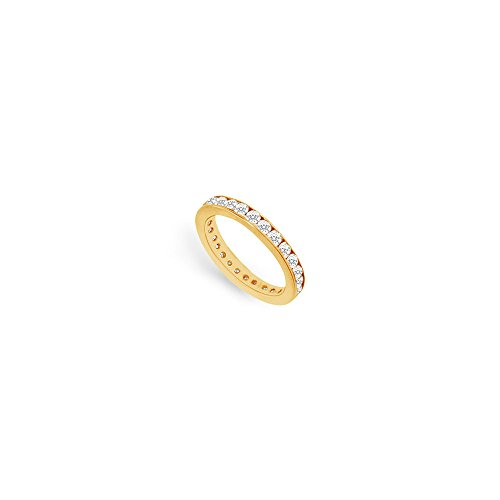 Diamond Eternity Rings in 18K Yellow Gold 0.75 CT TDW First Wedding Anniversary Jewelry Gift (18 Gold Band Wedding White K)