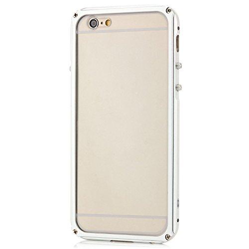 Zanasta Apple iPhone 6 6S Coque aluminium + Verre Trempé Métal Housse Bumper rigide Case | Ultra-Mince Housse Etui Protection Verre Acrylique Verso Argent Argent