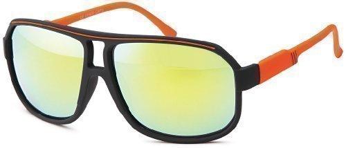 Sense42 Retro Sonnenbrille Two Tone Orange Schwarz, flexiblen Federscharnier Bügeln, Nerdbrille Damen Herren Unisex mit Brillenbeutel (Wayfarer Two Tone Sonnenbrille)