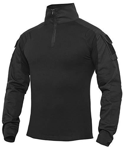 Herren Taktisches Hemd Outdoor Shirt Kampfshirt für Militär und Airsoft (Schwarz, L)