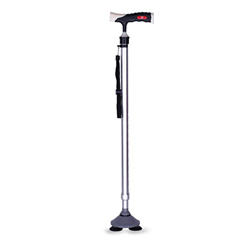 Nshk anziani stampelle bastoni da passeggio a tre punte antiscivolo canna telescopica con base a ventosa per viaggi su terreni diversi,silver