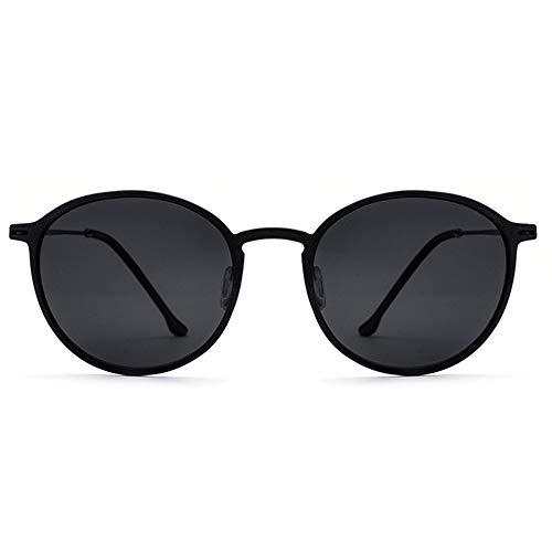TR90 Runde Retro Sonnenbrille Männer Frauen Vintage Steampunk Polarisierte Sonnenbrille Brille (Farbe : Black Frame Black Film, Größe : Free)