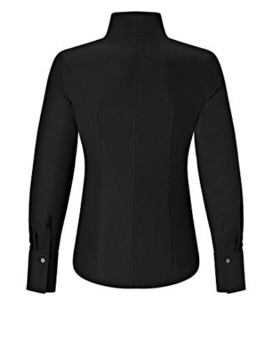 Vincenzo Boretti Damen Bluse mit Kelchkragen Tailliert 100% Baumwolle Bügelfrei Langarm Hemdbluse mit Stehkragen Elegant Festlich Auch für Business Schwarz