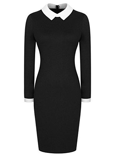 1950s Collar Vestito Donna Vintage Retro Stand Maniche Lunghe Miusol fx1zwqY