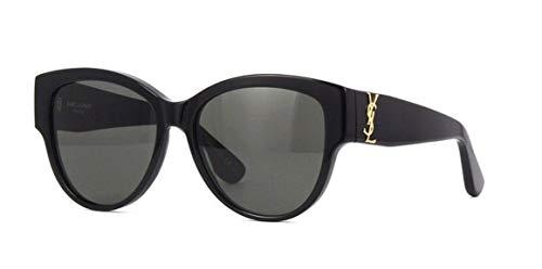 Saint Laurent Damen SL M3 002 Sonnenbrille, Schwarz (BLACK/GREY), 55