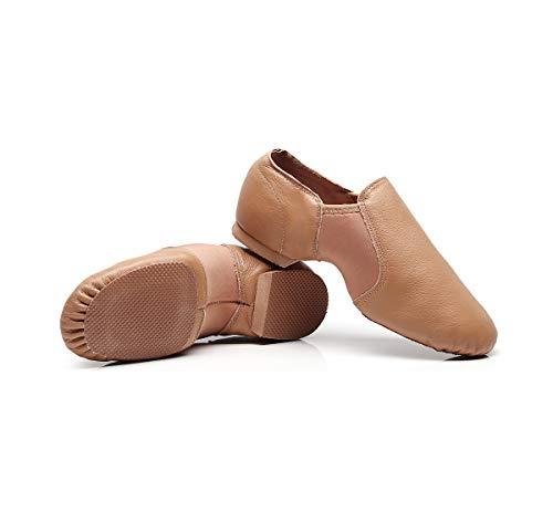 DoGeek Jazzschuhe Damen Tanzschuhe Sportschuhe aus Weichem Leder Dance Schuhe mit Schweinsleder Jazz Schuhe zum hineinschlüpfen Geteilter Sohle für Kinder, und Erwachsener in Gr.35-42 - 2