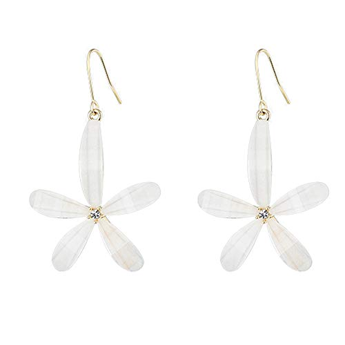 GYUE Frauen-Anhänger Ohrringe-Temperament Silber weiße Blume dreidimensionale Blütenblatt Ohrringe Ohrringe weibliche Kunst frische Superfee Ohrringe weiblich Für Frau Mädchen (White Gold-huggies-ohrringe)