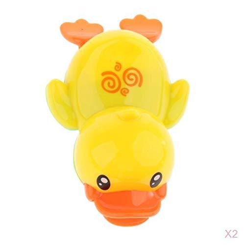 Fenteer 2 pcs Schwimmen Gelbe Ente Badewannenspielzeug, Tier Badespielzeug Wasser Spielzeug für Baby -