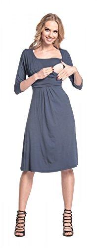 Happy Mama Femme. Robe patineuse maternité d'allaitement. Manches 3/4. 526p Bleu Gris
