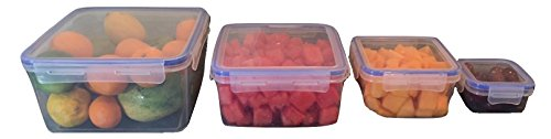 Lock & Lager Frischhaltedosen, Food Storage Set 4 Square Containers (10 pints) farblos (Kunststoff-square Storage Container)