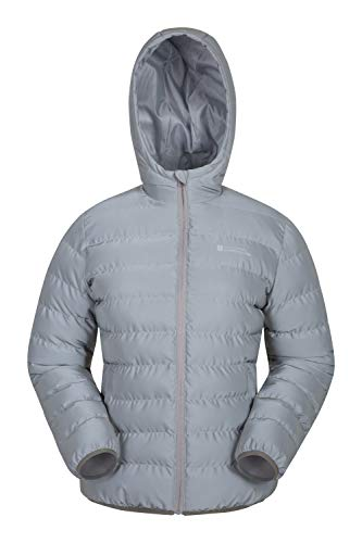 Mountain Warehouse Seasons Reflektierende Damen-Steppjacke - Microfaser-Isolierung, Reflektoren, Wasserabweisende Regenjacke - Damen-Bekleidung für Radfahren, Winter Silber DE 38 (EU 40)