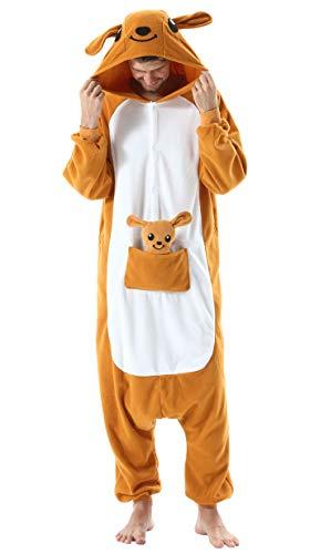Jumpsuit Onesie Tier Karton Kigurumi Fasching Halloween Kostüm Lounge Sleepsuit Cosplay Overall Pyjama Schlafanzug Erwachsene Unisex Känguru for Höhe 140-187CM Damen Herren