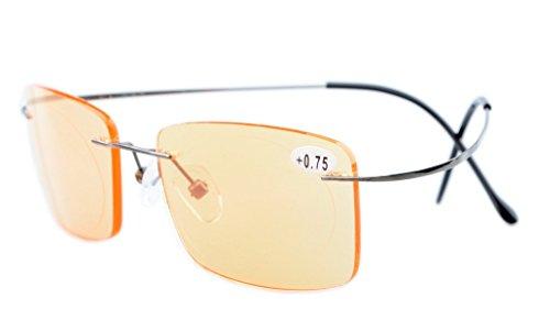 Eyekepper titanio senza bordi COMPUTER occhiali da lettura schede per uomo donna oro + 0.50 - Gunmetal Scheda