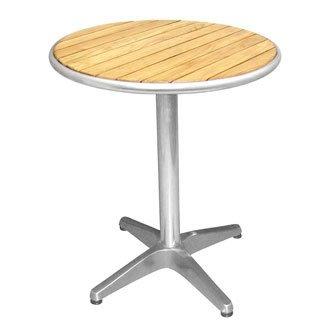 Bolero U428 rond piédestal Table bistro Frêne et aluminium Dessus, 600 mm, argent