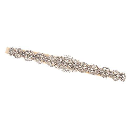 Gazechimp Vintage Cinturón de Lazo con Perlas Flor Artificial Vestido de Futura Esposa Perlas Falsas Accesorio de Boda - Champán, 41 x 5 cm