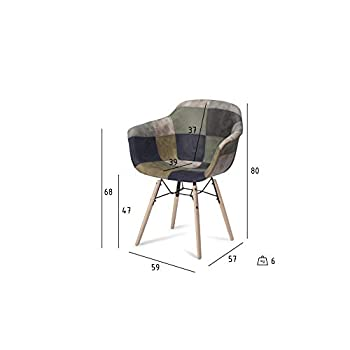 Furnhouse Flame Dining Chair, Blue, Natural Legs, 59x57x80 cm, Set of 2