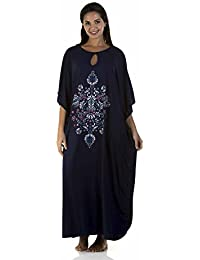 Socks Uwear Ladies One Size Kaftan Liz Taylor 816 Loop-Neck with Floral Embroidery