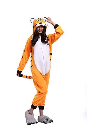 chsene Tier Einteiler Pyjama Damen Herren Kostüm Stitch Fasching Zoo/Cosplay Jumpsuit Karneval Halloween Tiger Gr. Medium, Bengal Tiger ()