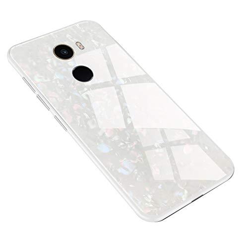 Fantasyqi Compatible/Reemplazo para Xiaomi Mi Mix 2 Funda Ultra Delgado Transparente Vidrio Templado Cubierta Posterior Silicona Blanda Parachoques Anti-Rasguños Absorción de Golpes(Blanc)