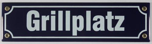 Straßenschild Grillplatz 30x8 cm Emaille Schild Emaile grillen Grill BBQ Garten