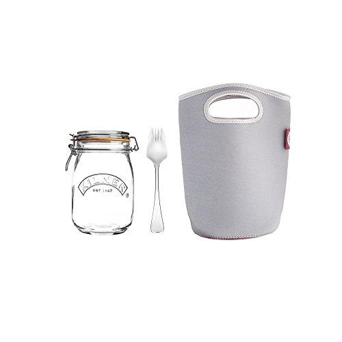 Kilner 0025.881 Make and TAKE Bügelverschluss Gabel und Beutel, 1 Liter to Go, Glas/Edelstahl/Neopren, farblos
