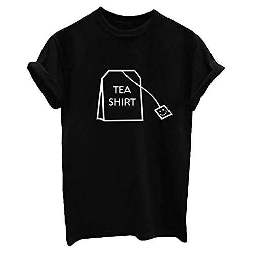 Linkay T Shirt Damen Langarm Bluse Tops Süße Junior-Grafik Oberteile Mode 2019 (Schwarz, Medium) (Street Mime Kostüm)